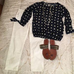 Metaphor navy and white polka dot blouse